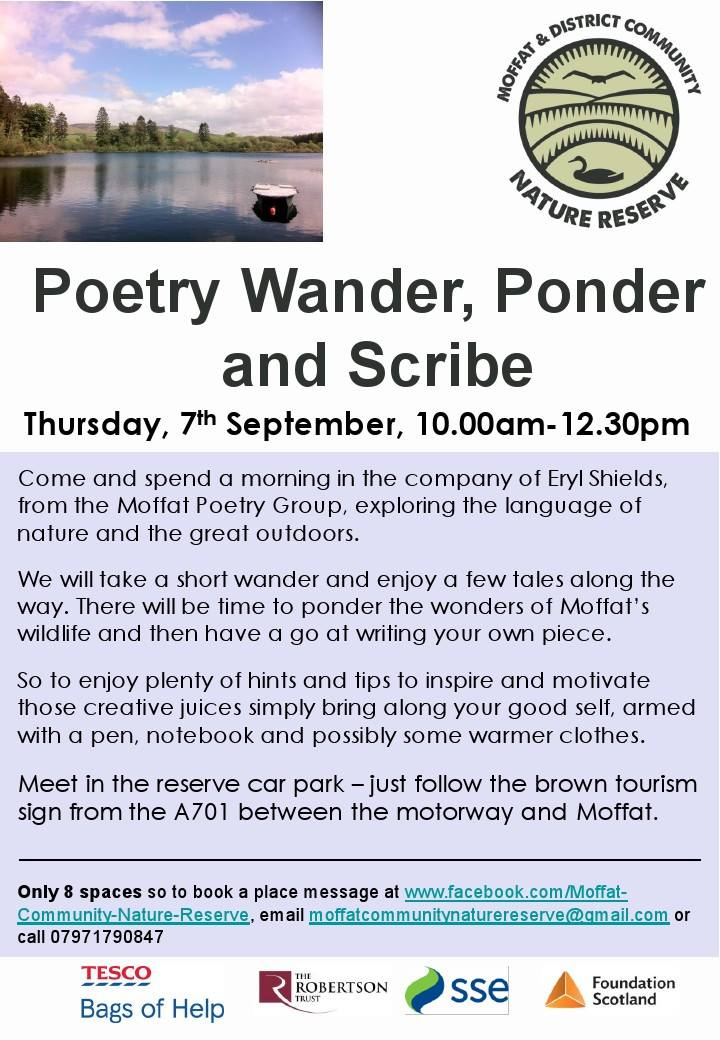 Moffat Community Nature Reserve poetry workshop.