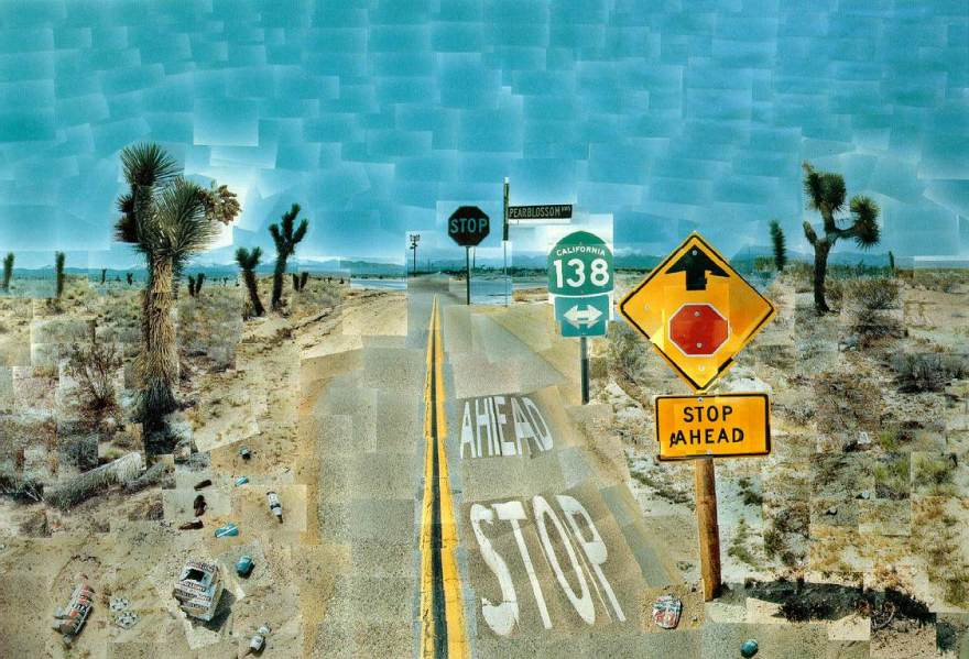 David Hockney's montage, Pearblossom Highway