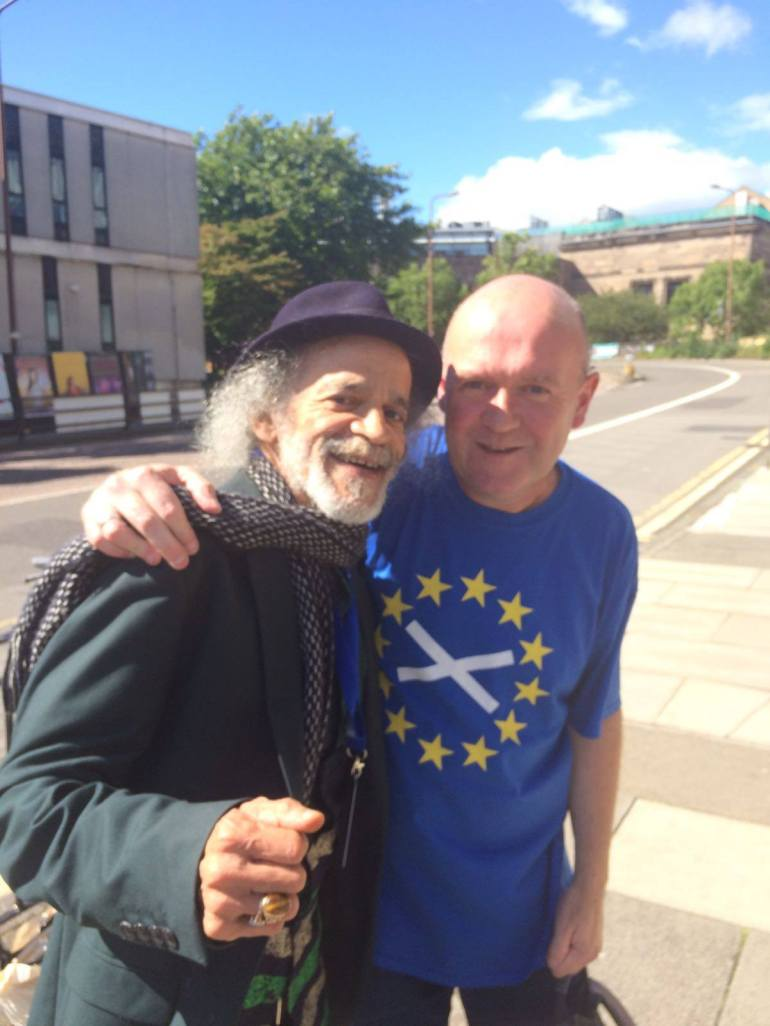 Poets Stuart A. Paterson and John Agard.