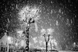 Midnight Streetlight Smalltown Snow
