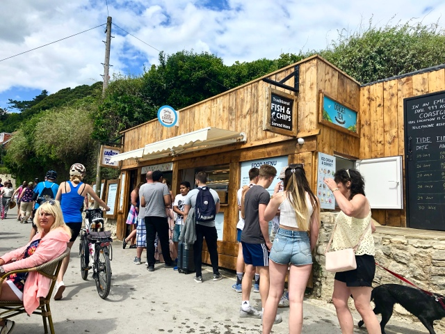 A shack for gourmets at Lulworth Cove.