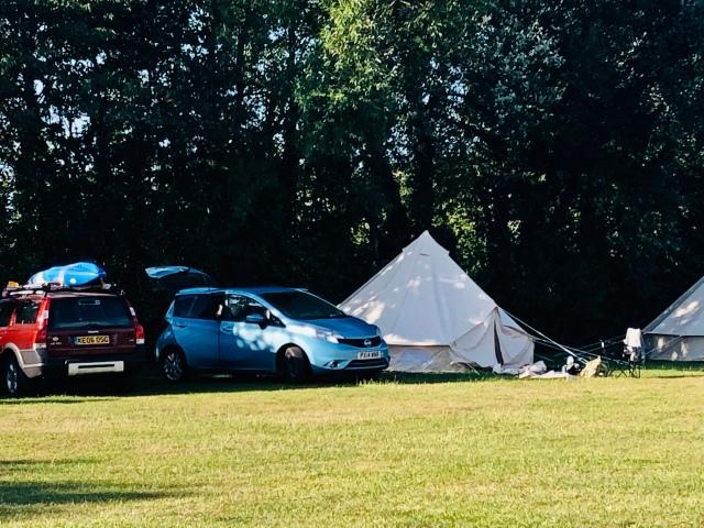 A bell tent at Rosewall Campsite, Osmington Mills, Dorset.
